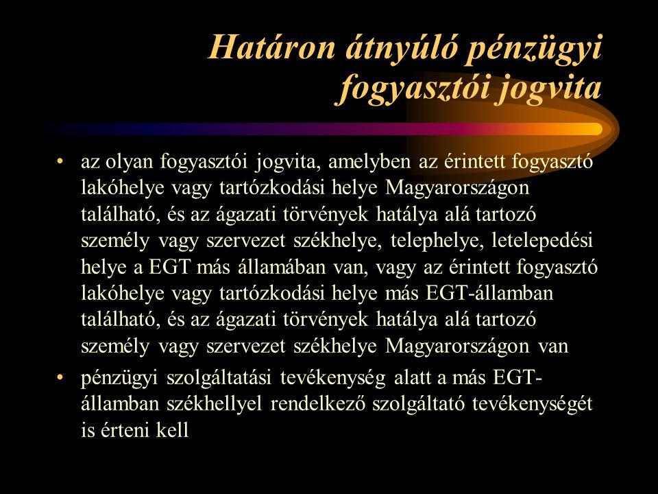 Határon átnyúló pénzügyi fogyasztói jogvita az olyan fogyasztói jogvita, amelyben az érintett fogyasztó lakóhelye vagy tartózkodási helye Magyarország