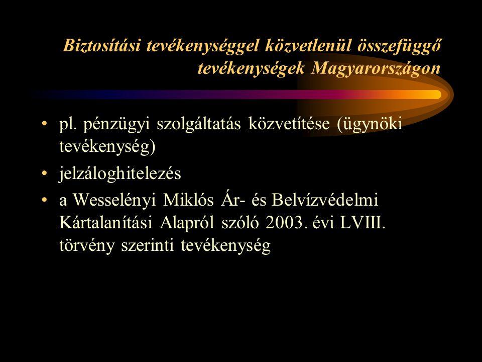 Biztosítási tevékenységgel közvetlenül összefüggő tevékenységek Magyarországon pl. pénzügyi szolgáltatás közvetítése (ügynöki tevékenység) jelzáloghit