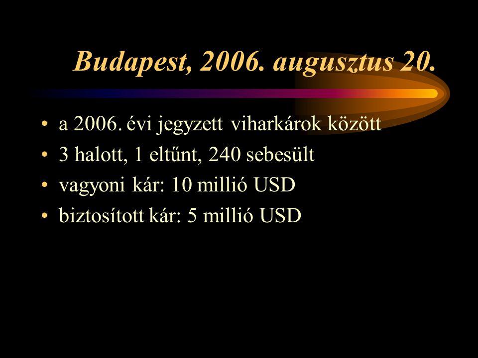 Budapest, 2006. augusztus 20. a 2006. évi jegyzett viharkárok között 3 halott, 1 eltűnt, 240 sebesült vagyoni kár: 10 millió USD biztosított kár: 5 mi