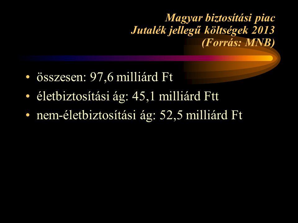 Magyar biztosítási piac Jutalék jellegű költségek 2013 (Forrás: MNB) összesen: 97,6 milliárd Ft életbiztosítási ág: 45,1 milliárd Ftt nem-életbiztosít