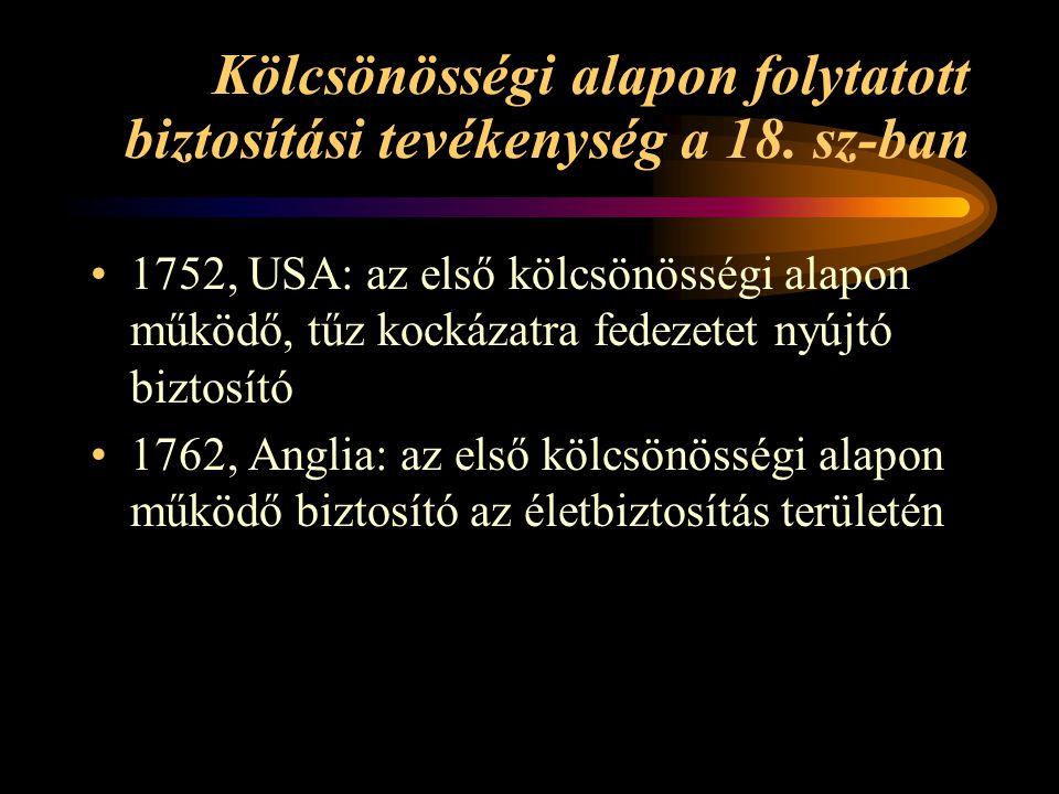 Kölcsönösségi alapon folytatott biztosítási tevékenység a 18. sz-ban 1752, USA: az első kölcsönösségi alapon működő, tűz kockázatra fedezetet nyújtó b