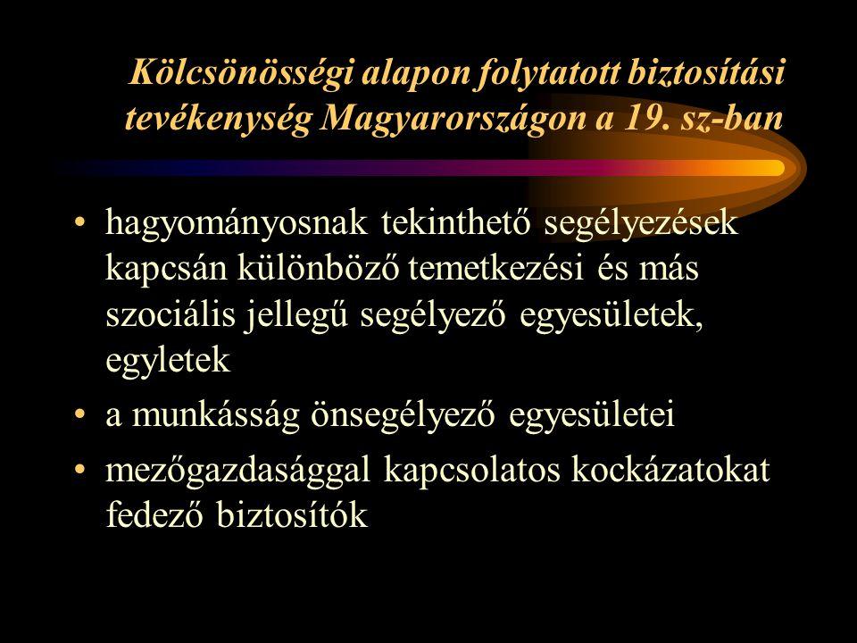 Kölcsönösségi alapon folytatott biztosítási tevékenység Magyarországon a 19. sz-ban hagyományosnak tekinthető segélyezések kapcsán különböző temetkezé
