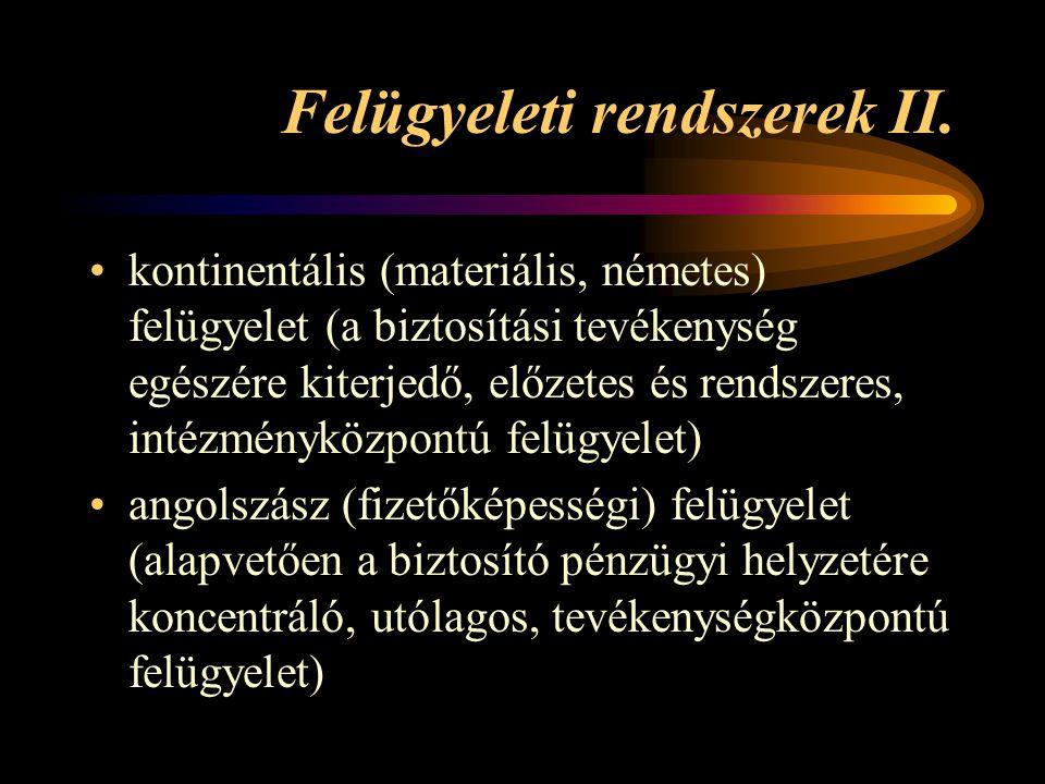 Felügyeleti rendszerek II. kontinentális (materiális, németes) felügyelet (a biztosítási tevékenység egészére kiterjedő, előzetes és rendszeres, intéz
