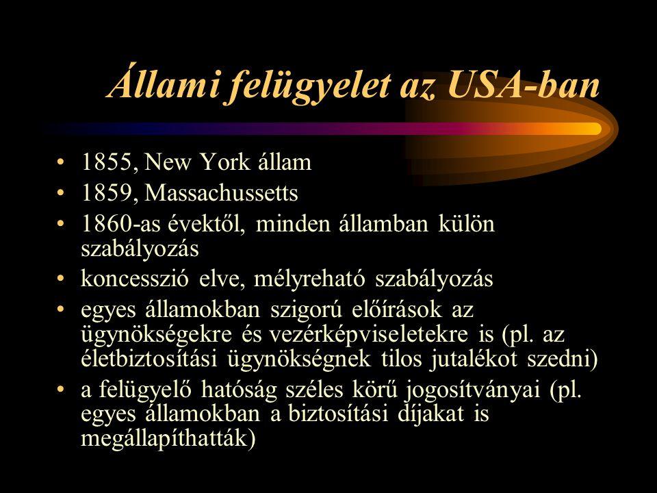Állami felügyelet az USA-ban 1855, New York állam 1859, Massachussetts 1860-as évektől, minden államban külön szabályozás koncesszió elve, mélyreható