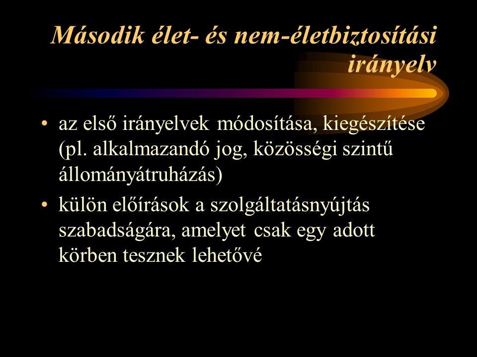 Második élet- és nem-életbiztosítási irányelv az első irányelvek módosítása, kiegészítése (pl. alkalmazandó jog, közösségi szintű állományátruházás) k
