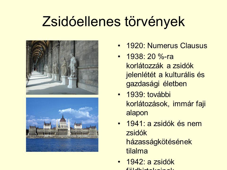 Zsidóellenes törvények 1920: Numerus Clausus 1938: 20 %-ra korlátozzák a zsidók jelenlétét a kulturális és gazdasági életben 1939: további korlátozáso