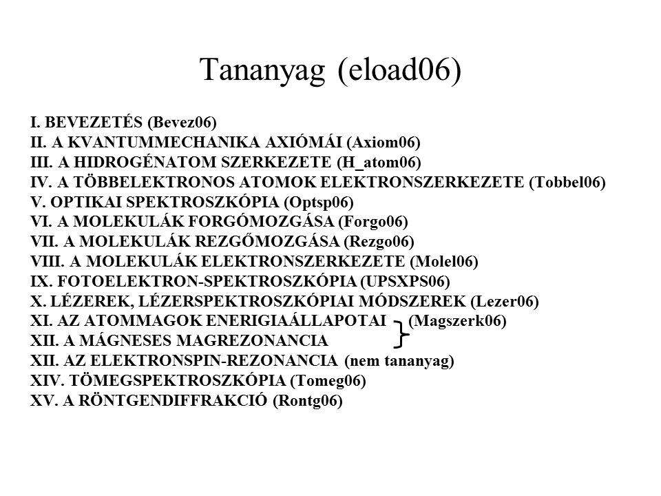 Tananyag (eload06) I. BEVEZETÉS (Bevez06) II. A KVANTUMMECHANIKA AXIÓMÁI (Axiom06) III.