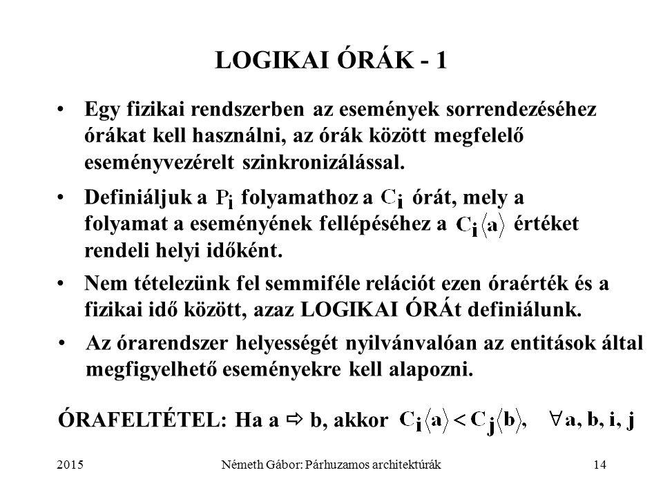 2015Németh Gábor: Párhuzamos architektúrák14 LOGIKAI ÓRÁK - 1 Egy fizikai rendszerben az események sorrendezéséhez órákat kell használni, az órák között megfelelő eseményvezérelt szinkronizálással.