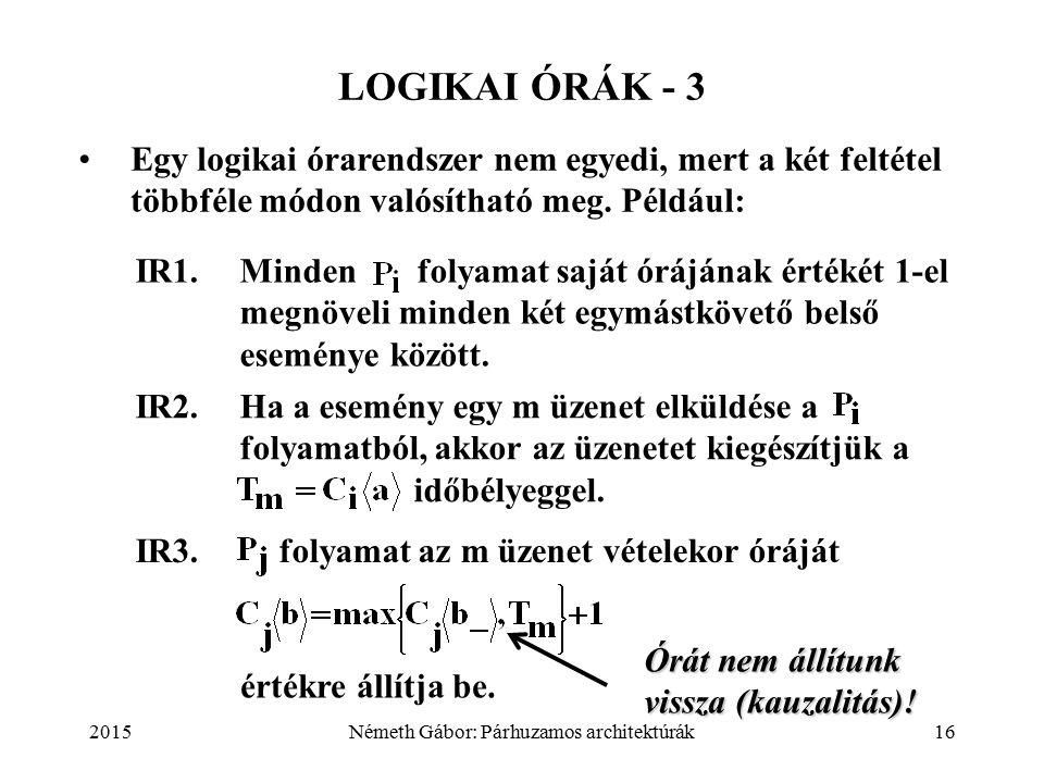 2015Németh Gábor: Párhuzamos architektúrák16 LOGIKAI ÓRÁK - 3 Egy logikai órarendszer nem egyedi, mert a két feltétel többféle módon valósítható meg.