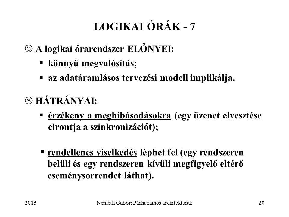 2015Németh Gábor: Párhuzamos architektúrák20 LOGIKAI ÓRÁK - 7 A logikai órarendszer ELŐNYEI:  könnyű megvalósítás;  az adatáramlásos tervezési modell implikálja.