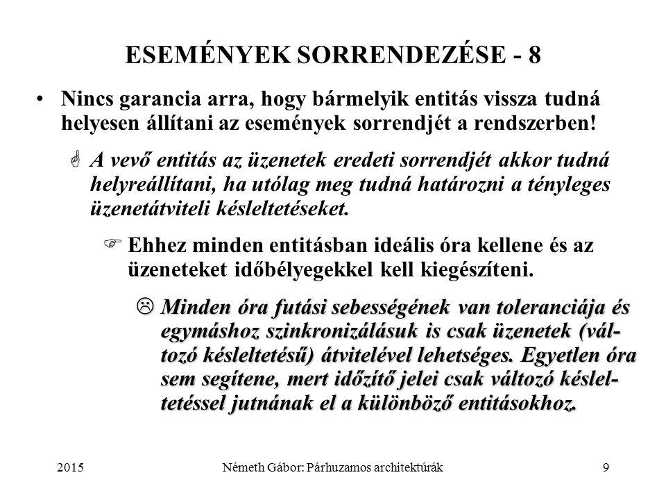 2015Németh Gábor: Párhuzamos architektúrák9 ESEMÉNYEK SORRENDEZÉSE - 8 Nincs garancia arra, hogy bármelyik entitás vissza tudná helyesen állítani az események sorrendjét a rendszerben.