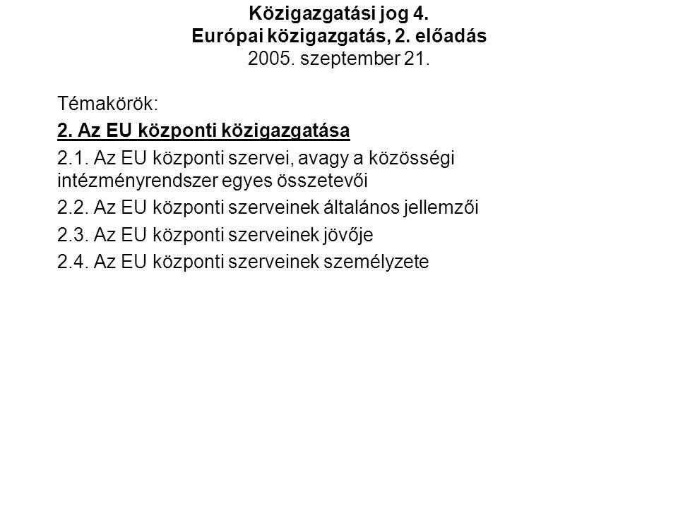 2.1.Az EU központi szervei, avagy a közösségi intézményrendszer egyes összetevői 1.