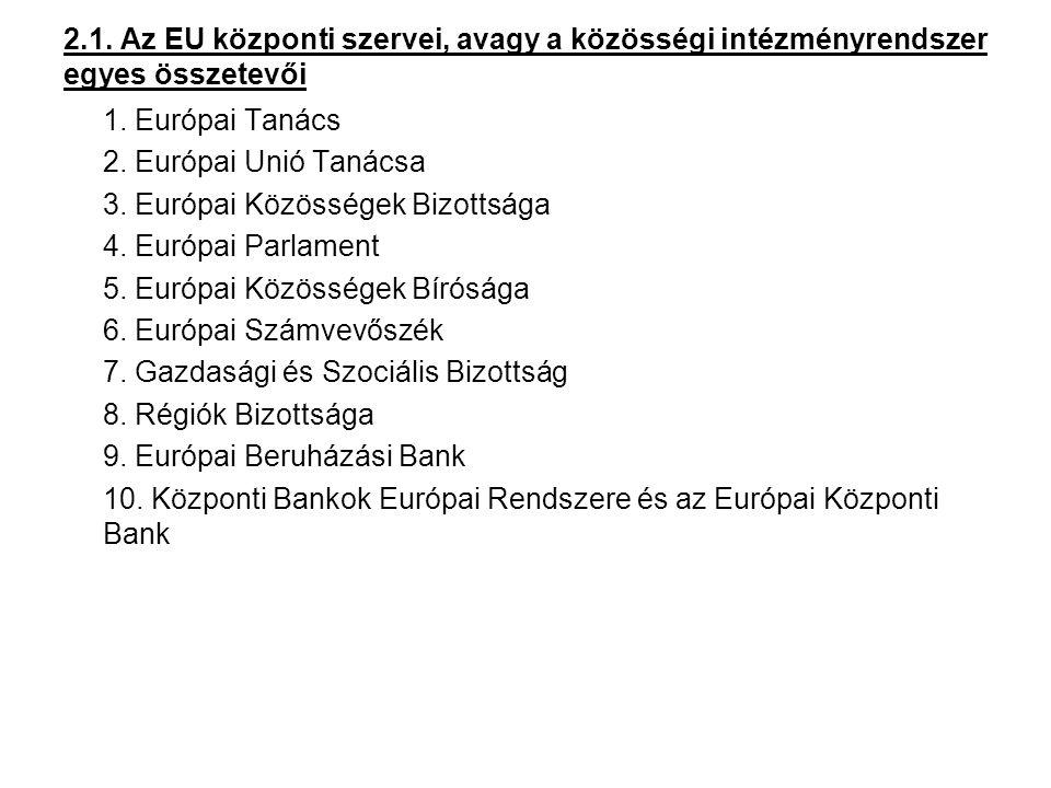 2.1.1.Az Európai Tanács Összetétele Feladatai (jogköre) Működése 2.1.2.