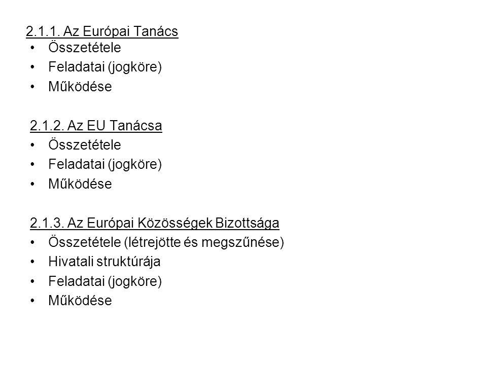 2.1.1. Az Európai Tanács Összetétele Feladatai (jogköre) Működése 2.1.2.
