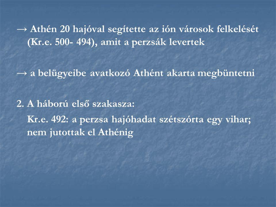 → Athén 20 hajóval segítette az ión városok felkelését (Kr.e. 500- 494), amit a perzsák levertek → a belügyeibe avatkozó Athént akarta megbüntetni 2.