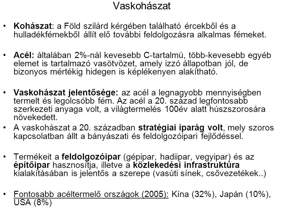 Vaskohászat Kohászat: a Föld szilárd kérgében található ércekből és a hulladékfémekből állít elő további feldolgozásra alkalmas fémeket.