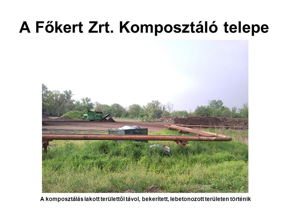 A Főkert Zrt. Komposztáló telepe A komposztálás lakott területtől távol, bekerített, lebetonozott területen történik