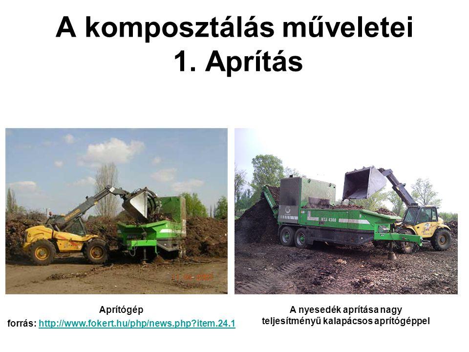 A komposztálás műveletei 1. Aprítás A nyesedék aprítása nagy teljesítményű kalapácsos aprítógéppel Aprítógép forrás: http://www.fokert.hu/php/news.php