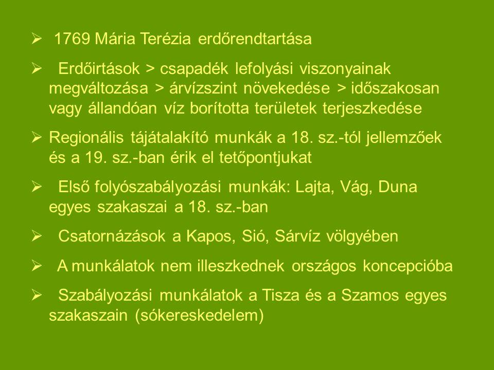  1769 Mária Terézia erdőrendtartása  Erdőirtások > csapadék lefolyási viszonyainak megváltozása > árvízszint növekedése > időszakosan vagy állandóan