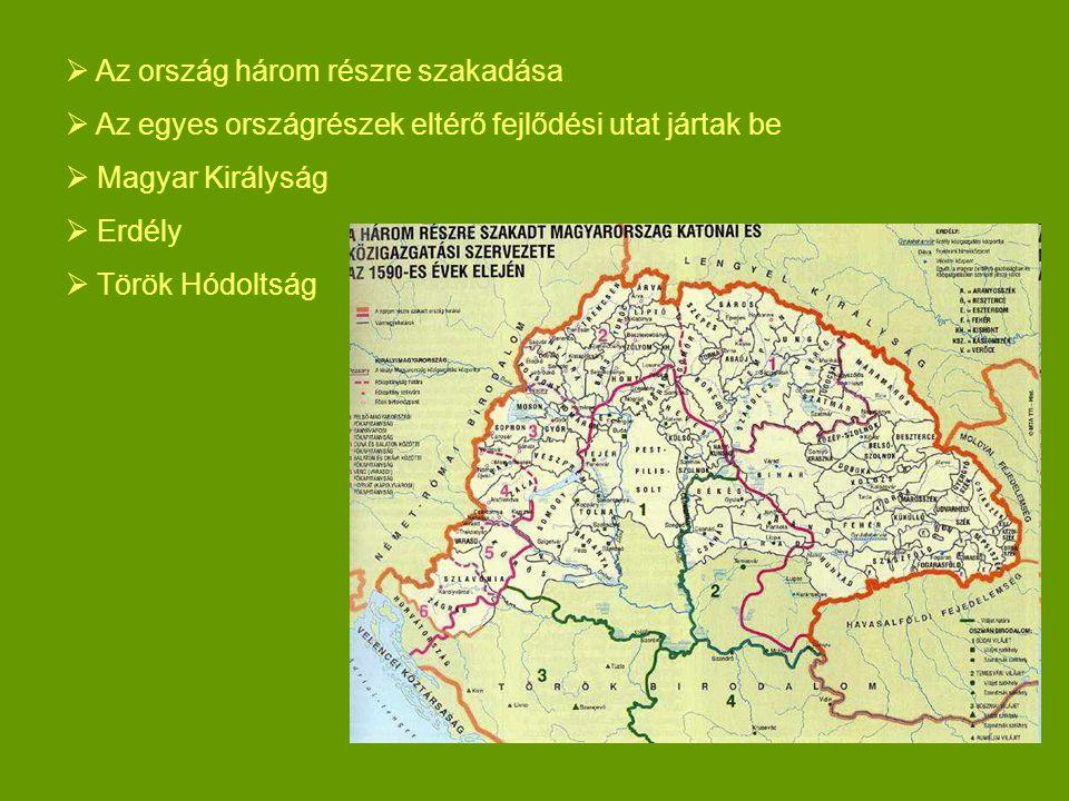  Az ország három részre szakadása  Az egyes országrészek eltérő fejlődési utat jártak be  Magyar Királyság  Erdély  Török Hódoltság