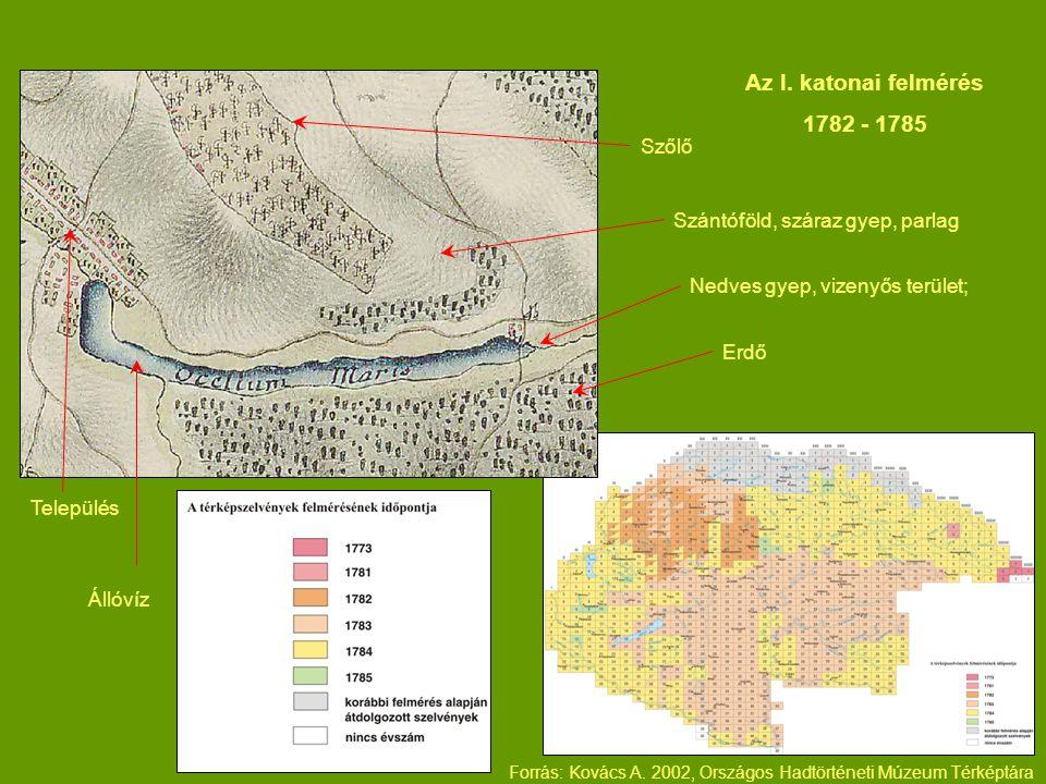Szántóföld, száraz gyep, parlag Erdő Nedves gyep, vizenyős terület; Szőlő Település Állóvíz Az I. katonai felmérés 1782 - 1785 Forrás: Kovács A. 2002,