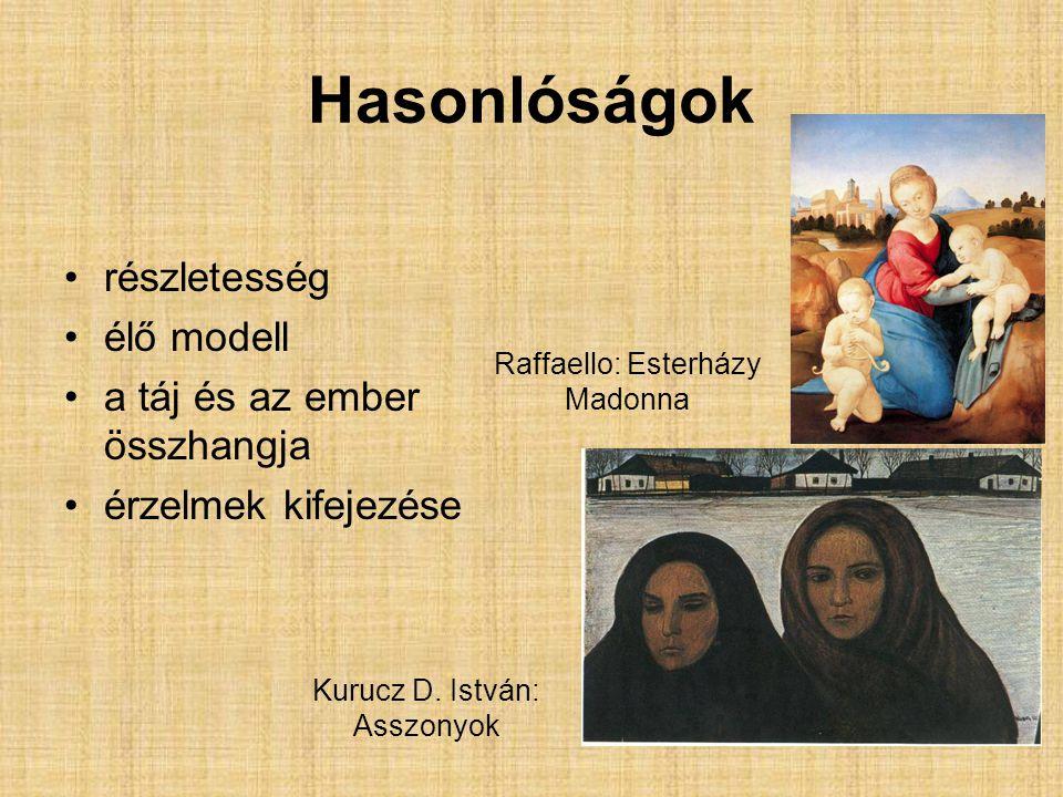 Hasonlóságok részletesség élő modell a táj és az ember összhangja érzelmek kifejezése Raffaello: Esterházy Madonna Kurucz D.