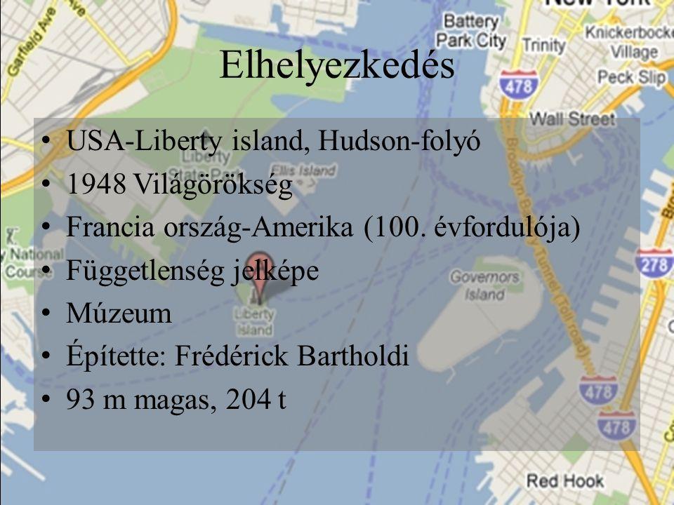 Elhelyezkedés USA-Liberty island, Hudson-folyó 1948 Világörökség Francia ország-Amerika (100. évfordulója) Függetlenség jelképe Múzeum Építette: Frédé