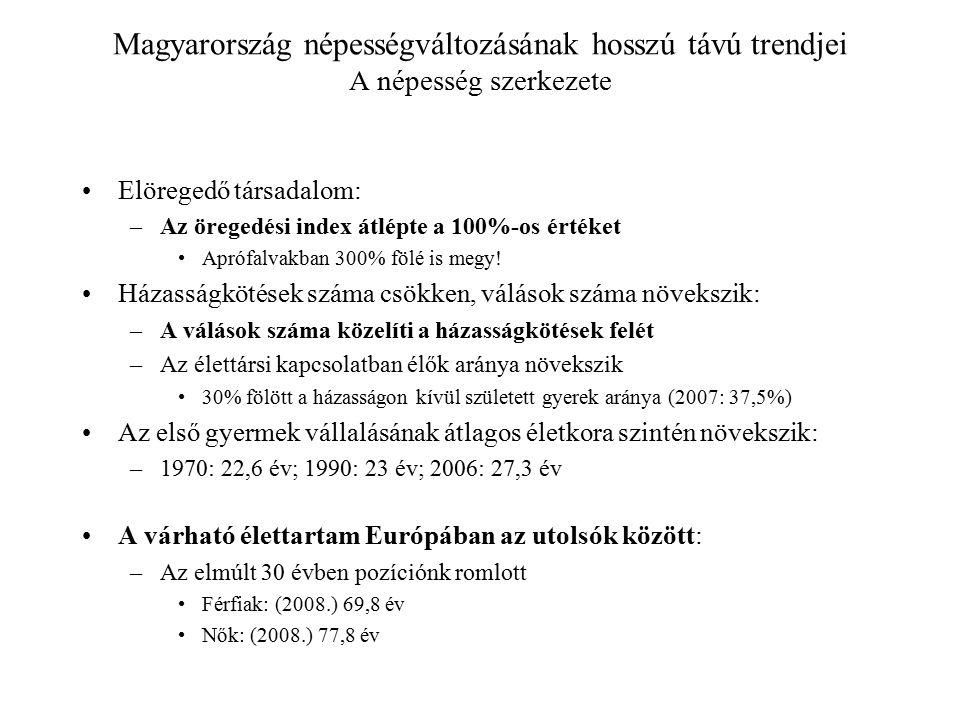 Magyarország népességváltozásának hosszú távú trendjei A népesség szerkezete Elöregedő társadalom: –Az öregedési index átlépte a 100%-os értéket Apróf