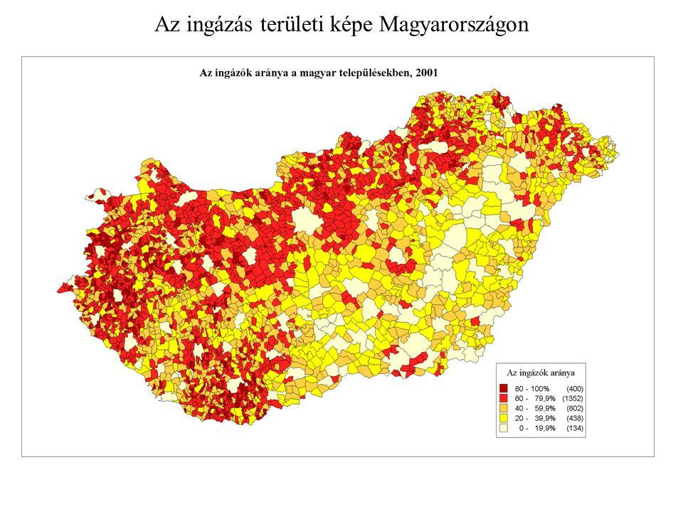 Az ingázás területi képe Magyarországon