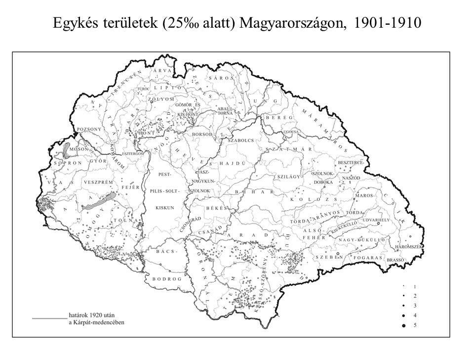Egykés területek (25‰ alatt) Magyarországon, 1901-1910