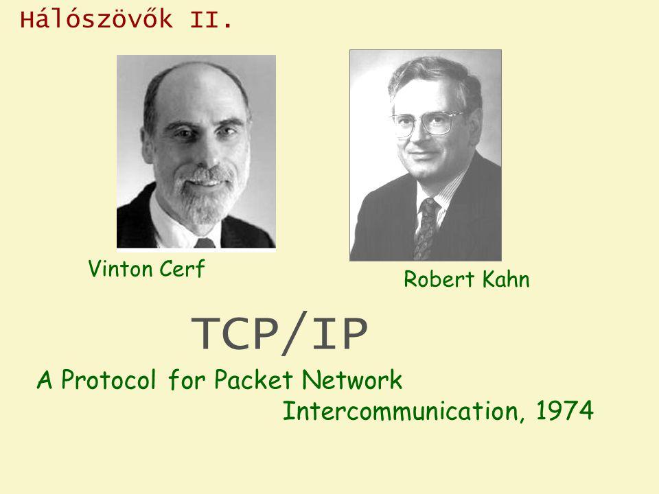 Hálószövők II. TCP/IP Vinton Cerf Robert Kahn A Protocol for Packet Network Intercommunication, 1974