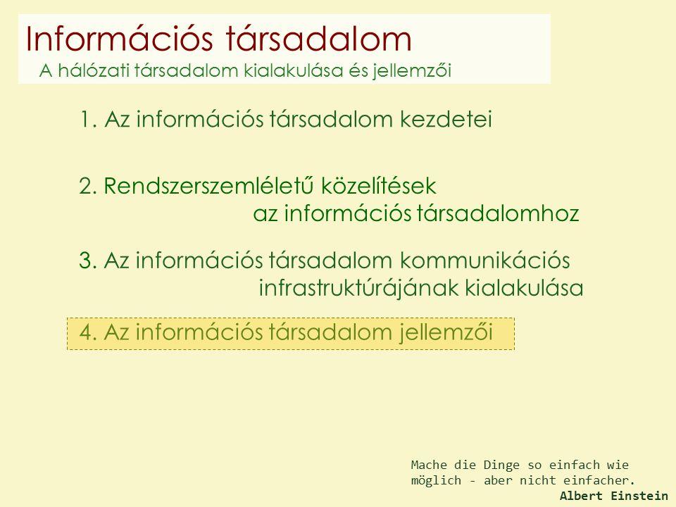 4. Az információs társadalom jellemzői 2. Rendszerszemléletű közelítések az információs társadalomhoz 1. Az információs társadalom kezdetei 3. Az info
