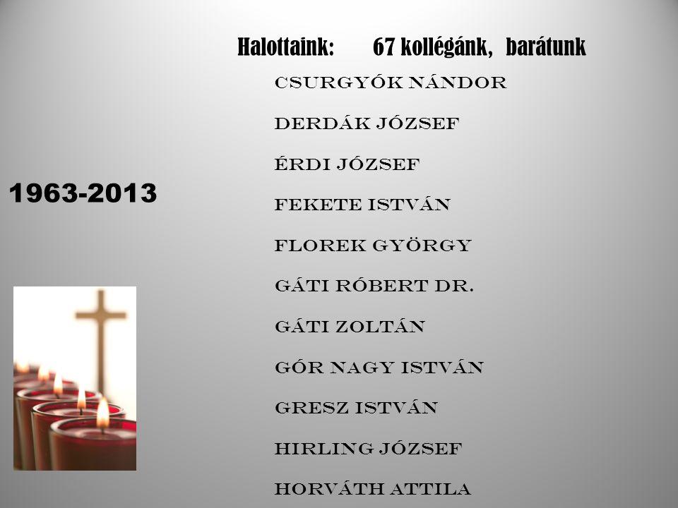 Halottaink:67 kollégánk, barátunk 1963-2013 Csurgyók Nándor Derdák József Érdi József Fekete István Florek György Gáti Róbert dr.