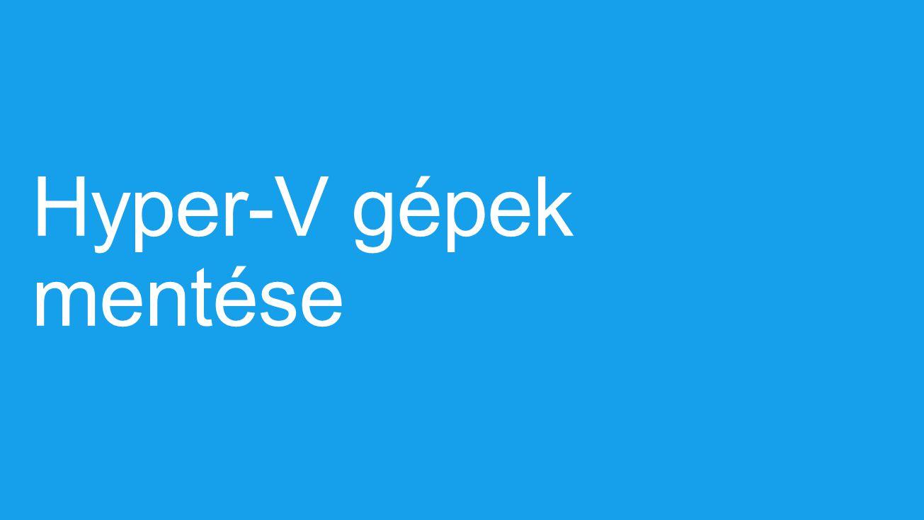Virtuális gépek lemezeinekinkrementális mentése A Volume Shadow Copy Service használatával A Hyper-V beállítások mentése Megköveteli az ügynök nélküligépeket Hálózati sávszélesség csökkentése Kiesebb méretű mentések Olcsóbb tárolás Optimalizált mentési költségek Windows Server Backup – Hyper-V gépek mentése VHD VasárnapHétfő Első teljes mentésElső növekményes mentés Mentés előttMentés közbenMentés utánMentés előttMentés közbenMentés után Mentés előttMentés közbenMentés után Mentés előttMentés közben Visszaállítás után Különbség 1 Különbség 2 Differences 2 Különbség 3 Különbség 2 Különbség 1 Merge Második növekményes mentés Incremental restore Mentett fájlok Kedd Péntek: Keddi mentés visszaállítása Merge
