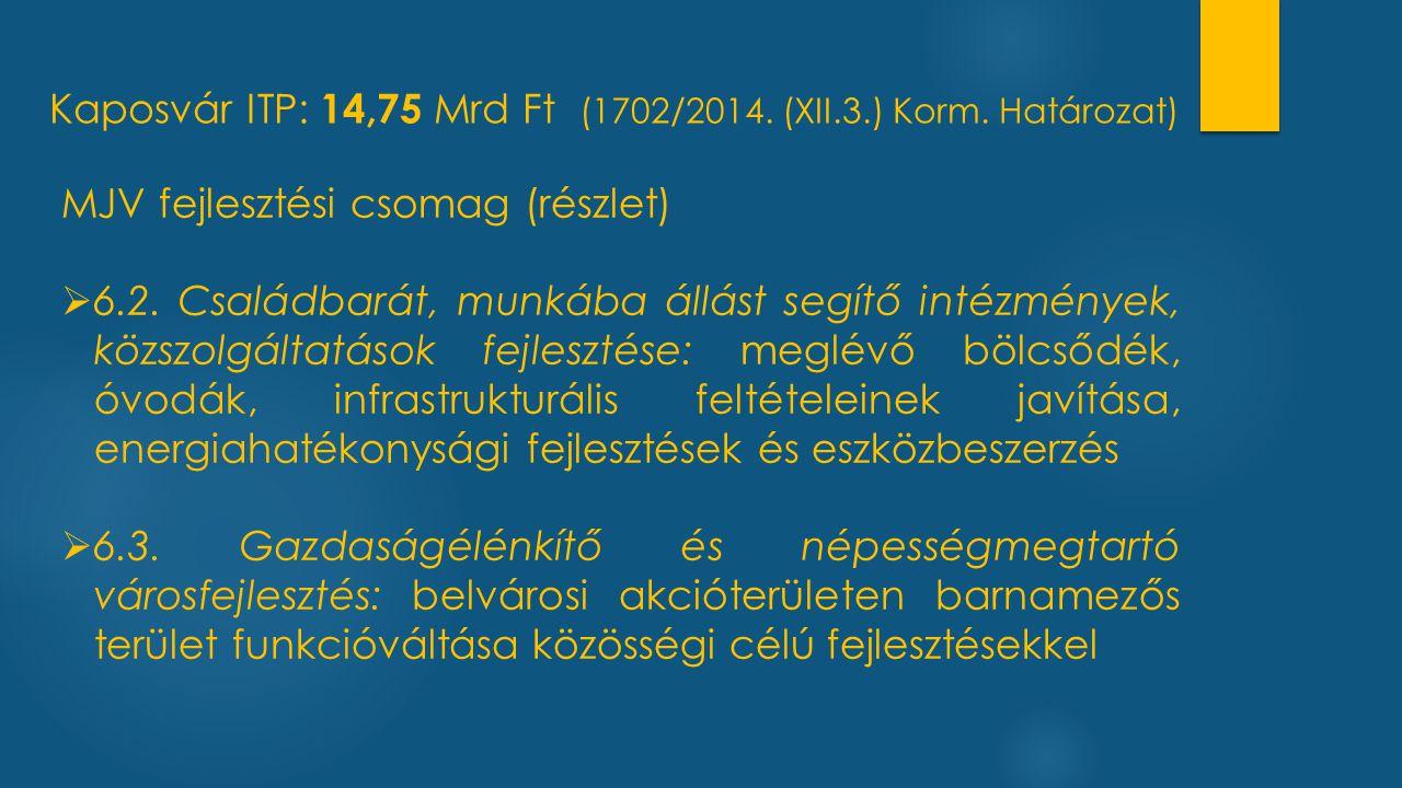 Kaposvár ITP: 14,75 Mrd Ft (1702/2014. (XII.3.) Korm. Határozat) MJV fejlesztési csomag (részlet)  6.2. Családbarát, munkába állást segítő intézménye