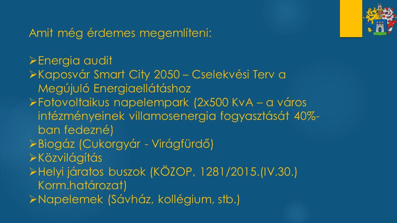 Amit még érdemes megemlíteni:  Energia audit  Kaposvár Smart City 2050 – Cselekvési Terv a Megújuló Energiaellátáshoz  Fotovoltaikus napelempark (2