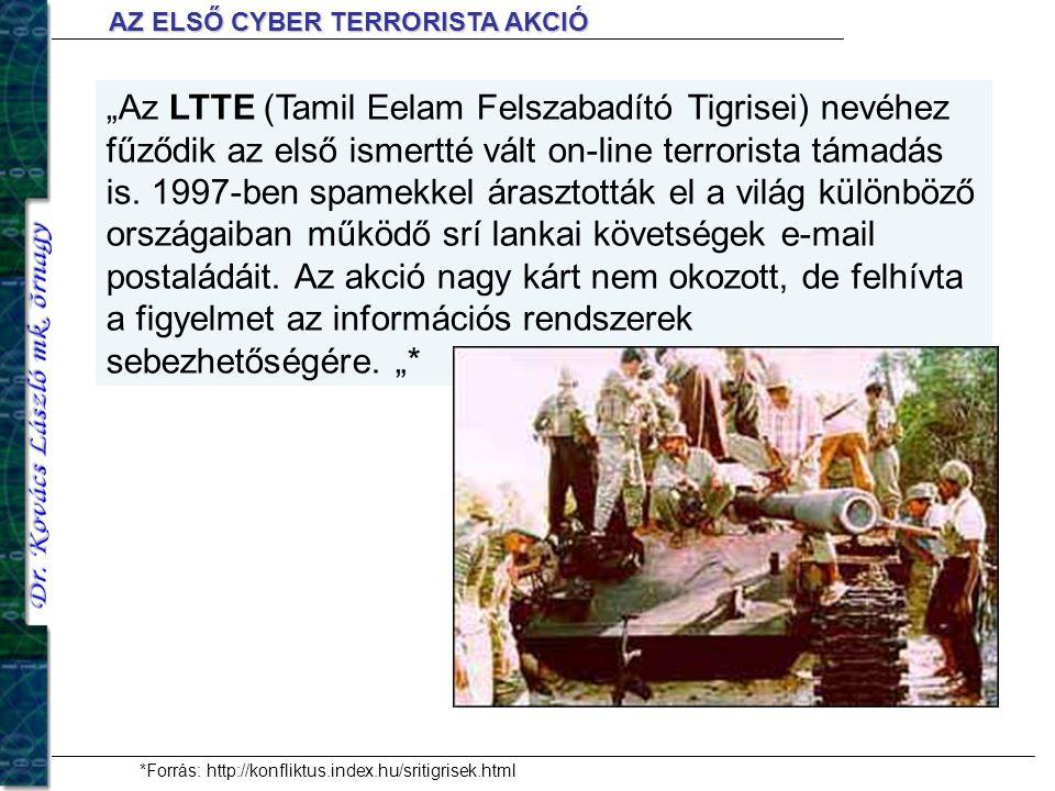 """""""Az LTTE (Tamil Eelam Felszabadító Tigrisei) nevéhez fűződik az első ismertté vált on-line terrorista támadás is. 1997-ben spamekkel árasztották el a"""