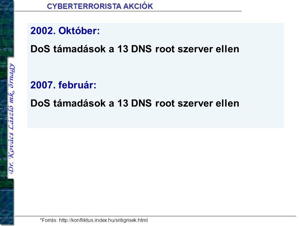 2002. Október: DoS támadások a 13 DNS root szerver ellen 2007. február: DoS támadások a 13 DNS root szerver ellen *Forrás: http://konfliktus.index.hu/