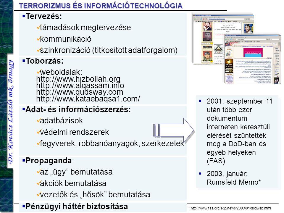 TERRORIZMUS ÉS INFORMÁCIÓTECHNOLÓGIA  2001. szeptember 11 után több ezer dokumentum interneten keresztüli elérését szüntették meg a DoD-ban és egyéb