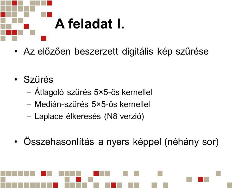 A feladat I. Az előzően beszerzett digitális kép szűrése Szűrés –Átlagoló szűrés 5×5-ös kernellel –Medián-szűrés 5×5-ös kernellel –Laplace élkeresés (