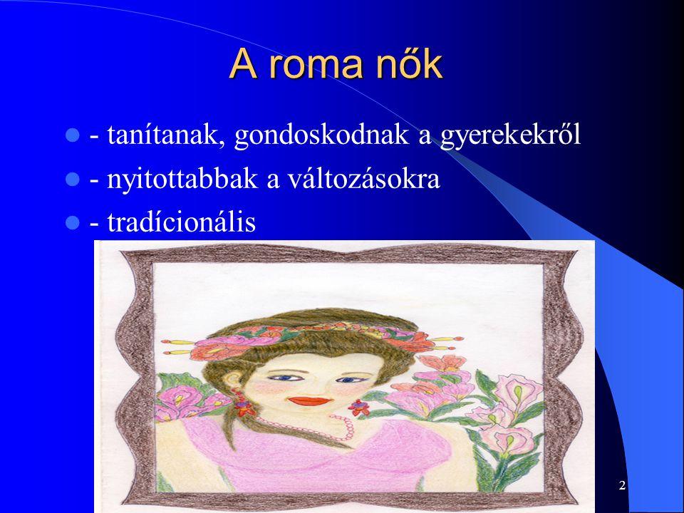 A roma nők - tanítanak, gondoskodnak a gyerekekről - nyitottabbak a változásokra - tradícionális 2