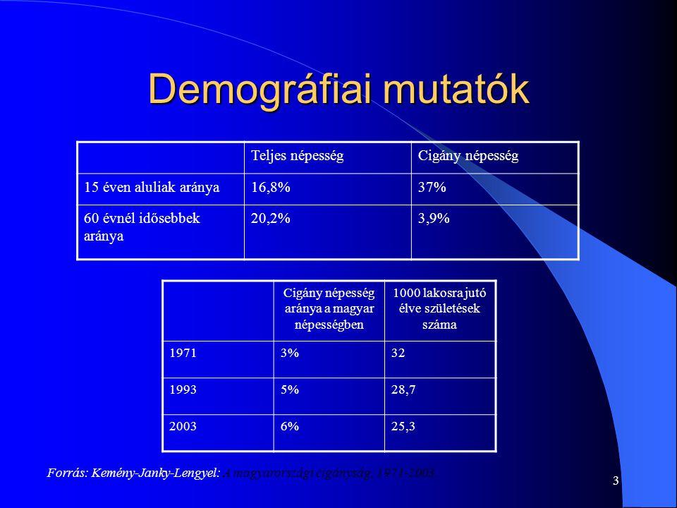 Demográfiai mutatók Forrás: Kemény-Janky-Lengyel: A magyarországi cigányság, 1971-2003. 3 Teljes népességCigány népesség 15 éven aluliak aránya16,8%37