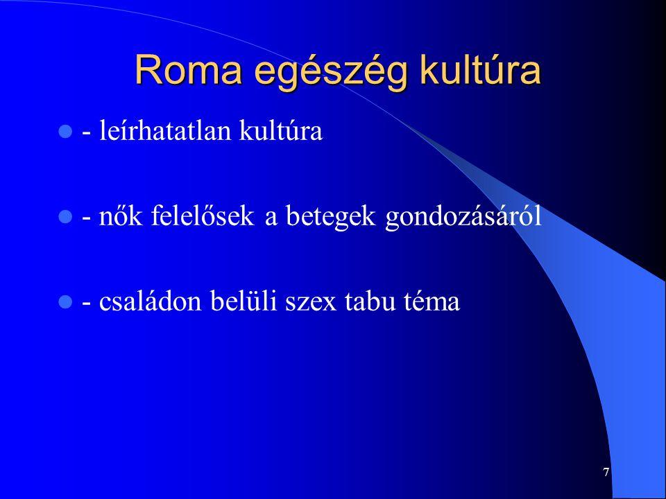 Eredmények – roma nők egészségi állapota A mintába került romák százalékos iskolai végzettségi mutatói viszonyítva a mintában lévő nem romák azonos adataival 8 Gyukits György – Ürmös Andor – Csoboth Csilla – Purebl György: Hogyan látják a fiatal roma nők egészségi állapotukat és egészségügyi ellátásukat*