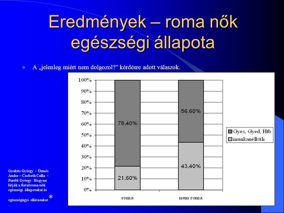 """Eredmények – roma nők egészségi állapota A """"jelenleg miért nem dolgozol?"""" kérdésre adott válaszok. 9 Gyukits György – Ürmös Andor – Csoboth Csilla – P"""