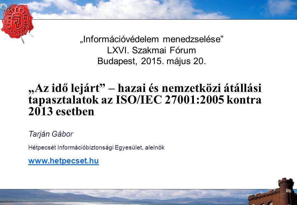 """""""Információvédelem menedzselése"""" LXVI. Szakmai Fórum Budapest, 2015. május 20. """"Az idő lejárt"""" – hazai és nemzetközi átállási tapasztalatok az ISO/IEC"""