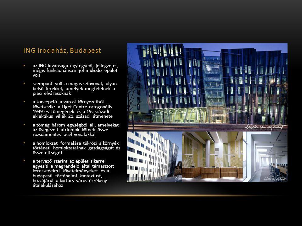 ING Irodaház, Budapest az ING kívánsága egy egyedi, jellegzetes, mégis funkcionálisan jól működő épület volt szempont volt a magas színvonal, olyan belső terekkel, amelyek megfelelnek a piaci elvárásoknak a koncepció a városi környezetből következik: a Liget Centre ortogonális 1949-es tömegének és a 19.