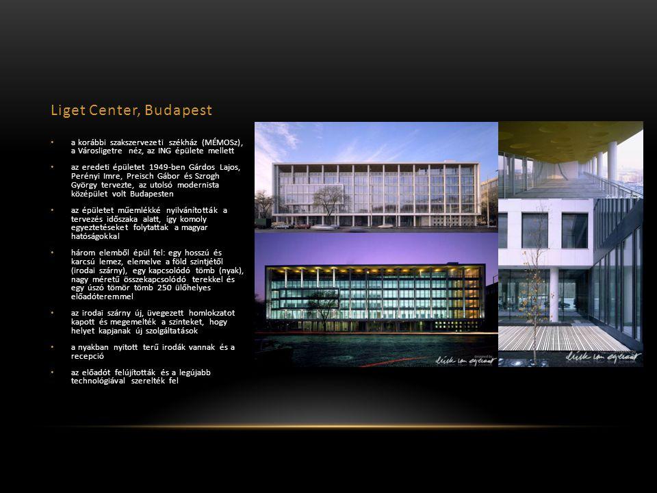 Liget Center, Budapest a korábbi szakszervezeti székház (MÉMOSz), a Városligetre néz, az ING épülete mellett az eredeti épületet 1949-ben Gárdos Lajos, Perényi Imre, Preisch Gábor és Szrogh György tervezte, az utolsó modernista középület volt Budapesten az épületet műemlékké nyilvánították a tervezés időszaka alatt, így komoly egyeztetéseket folytattak a magyar hatóságokkal három elemből épül fel: egy hosszú és karcsú lemez, elemelve a föld szintjétől (irodai szárny), egy kapcsolódó tömb (nyak), nagy méretű összekapcsolódó terekkel és egy úszó tömör tömb 250 ülőhelyes előadóteremmel az irodai szárny új, üvegezett homlokzatot kapott és megemelték a szinteket, hogy helyet kapjanak új szolgáltatások a nyakban nyitott terű irodák vannak és a recepció az előadót felújították és a legújabb technológiával szerelték fel