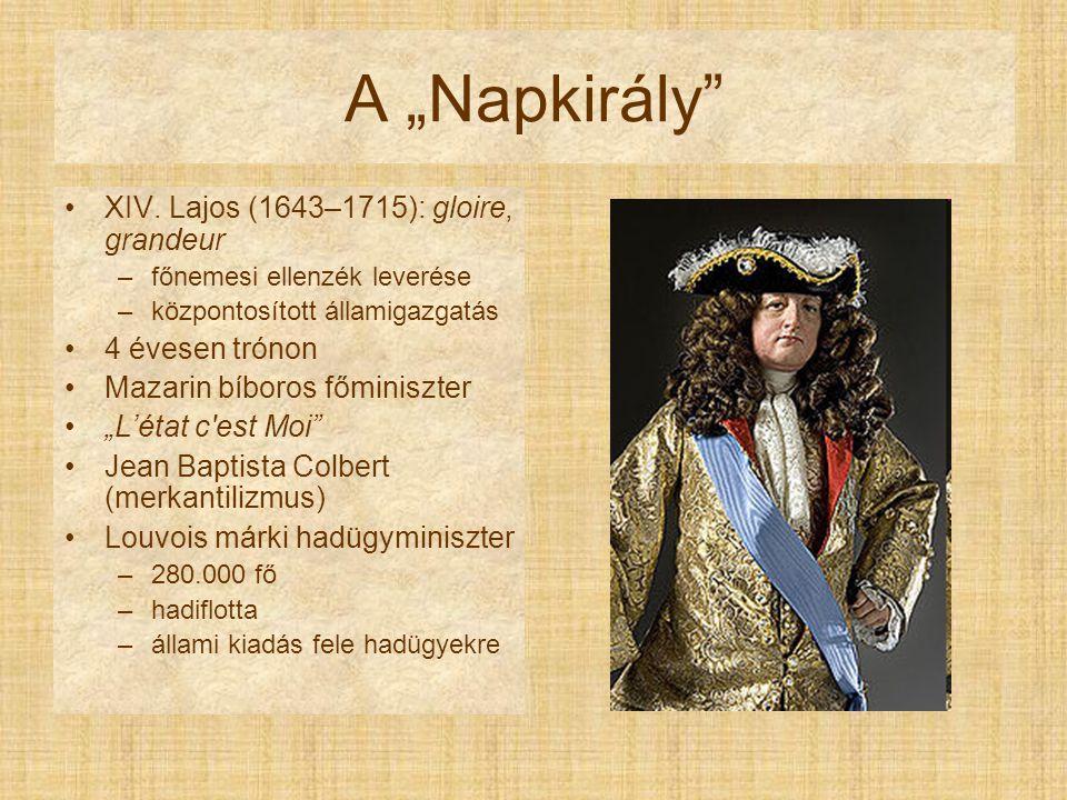 """A """"Napkirály Gyarmatok: –Louisiana –Szent Lőrinc-folyó környéke Versailles valláspolitika –gallikanizmus –nantes-i ediktum visszavonása (1685)"""