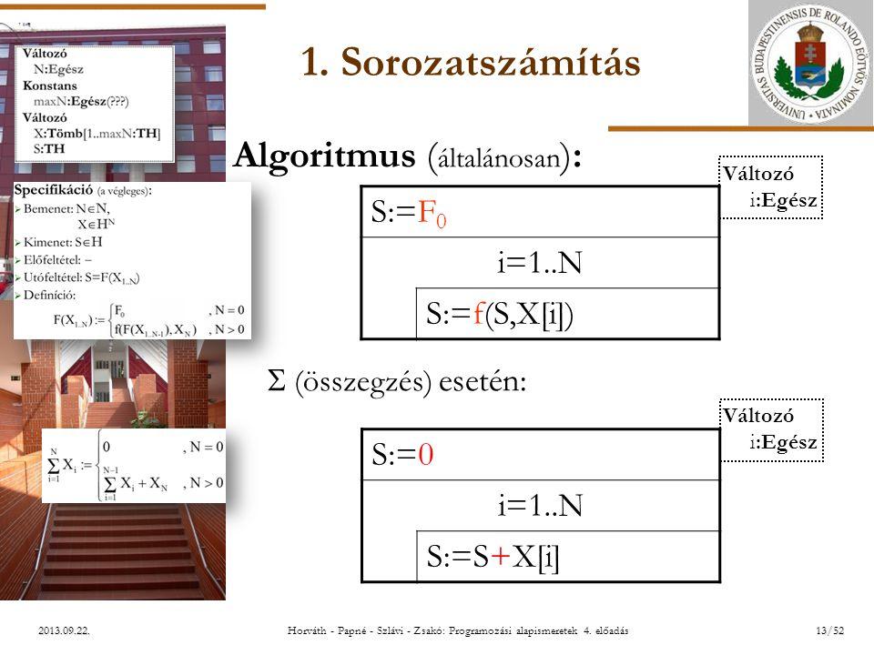 ELTE 2013.09.22. 1. Sorozatszámítás Algoritmus ( általánosan ):  (összegzés) esetén: S:=F 0 i=1..N S:=f(S,X[i]) S:=0 i=1..N S:=S+X[i] Változó i:Egész