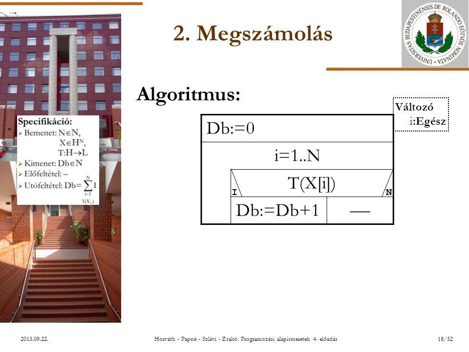 ELTE 2013.09.22. 2. Megszámolás Algoritmus: Db:=0 i=1..N T(X[i]) Db:=Db+1  I N Változó i:Egész 18/52Horváth - Papné - Szlávi - Zsakó: Programozási al